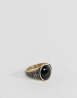 ASOS Золотистое кольцо на мизинец с черной эмалью DESIGN. Цвет: золотой