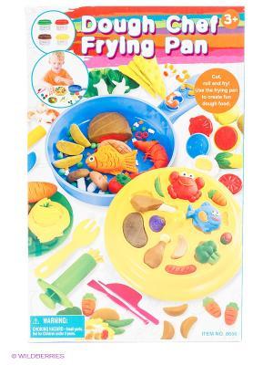 Набор с пластилином  Сковорода шеф- повара PlayGo. Цвет: желтый, зеленый, голубой