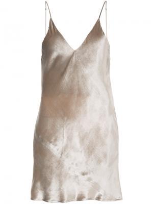 Бархатная сорочка-мини Fleur Du Mal. Цвет: телесный