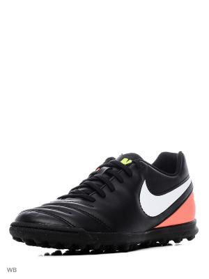 Шиповки TIEMPO RIO III TF Nike. Цвет: черный, коралловый