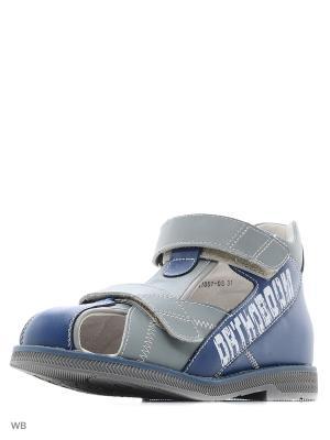 Туфли летние ортопедические ORTHOBOOM. Цвет: синий, светло-серый