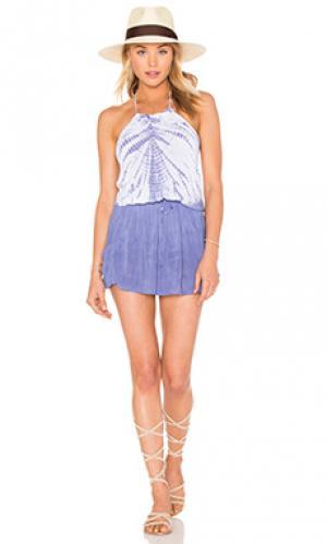 Платье с передником Bettinis. Цвет: синий