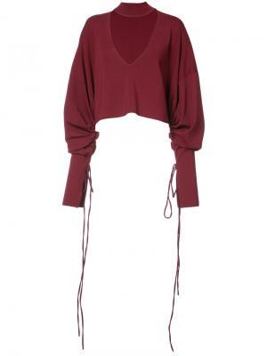 Укороченная рубашка с вырезной деталью Solace London. Цвет: красный