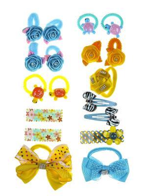 Комплект детский (Резинки - 13 шт., заколки 5 шт.) Happy Charms Family. Цвет: желтый, голубой, оранжевый