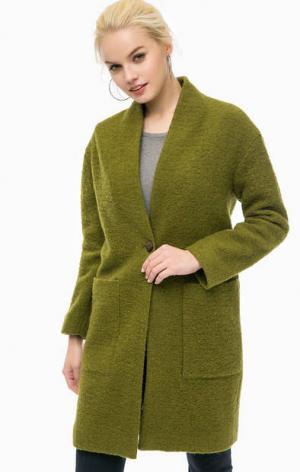 Пальто цвета хаки с накладными карманами MORE &. Цвет: хаки