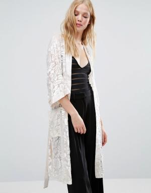 Gestuz Пиджак макси в стиле кимоно Missy. Цвет: кремовый