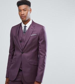 ASOS Сиреневый приталенный пиджак из 100% шерсти TALL. Цвет: фиолетовый