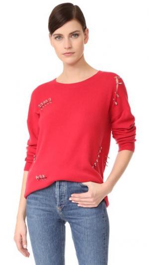 Кашемировый свитер с булавками The Kooples. Цвет: красный
