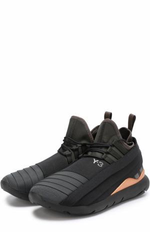 Текстильные кроссовки с фактурной отделкой Y-3. Цвет: черный