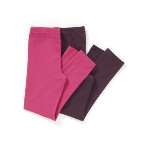 Комплект из 2 длинных однотонных леггинсов, 3-12 лет La Redoute Collections. Цвет: фуксия + фиолетовый,черный + белый,черный + серо-сиреневый,черный + темно-серый меланж