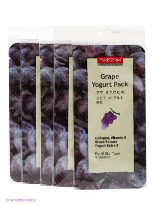 Маска йогуртовая Виноград, 10 мл. Набор из 5 шт. Purederm. Цвет: белый