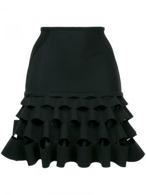 Короткая юбка с рюшами Dion Lee. Цвет: чёрный