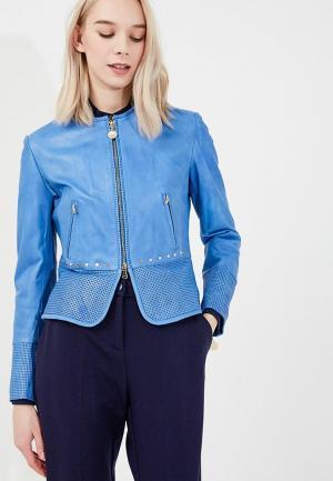 Куртка кожаная Pennyblack. Цвет: синий