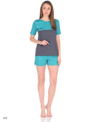 Комплект домашней одежды ( футболка, шорты) HomeLike. Цвет: зеленый, серый