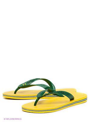 Шлепанцы Havaianas. Цвет: зеленый, желтый