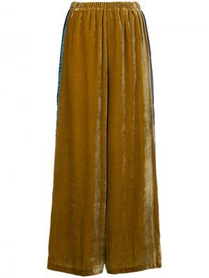 Бархатные брюки-палаццо Aula. Цвет: жёлтый и оранжевый