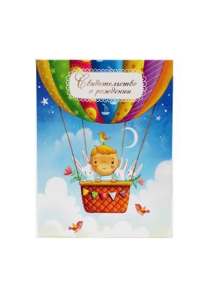 Авторская обложка для свидетельства о рождении Путешествие на воздушном шаре Dream Service. Цвет: бирюзовый, золотистый, розовый