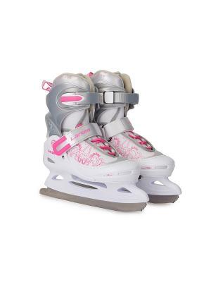 Коньки ледовые раздвижные Liberty Larsen. Цвет: белый, розовый, серый