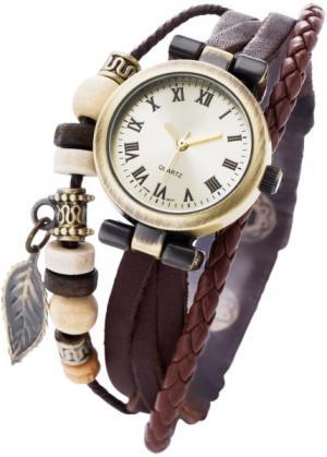 Часы Тоска на кожаном браслете (коричневый/дымчато-золотистый) bonprix. Цвет: коричневый/дымчато-золотистый
