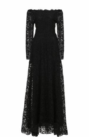 Кружевное платье-макси с открытыми плечами и длинными рукавами Valentino. Цвет: черный