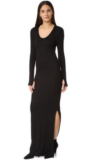 Макси-платье Olympia с разрезом L'AGENCE. Цвет: голубой