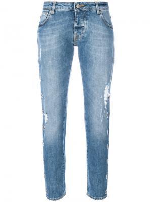 Состаренные укороченные джинсы Gaelle Bonheur. Цвет: синий