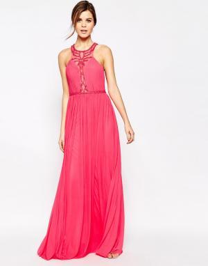 Forever Unique Платье-халтер макси с отделкой бисером Saffron. Цвет: оранжевый