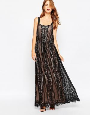 Adelyn Rae Кружевное платье макси. Цвет: черный