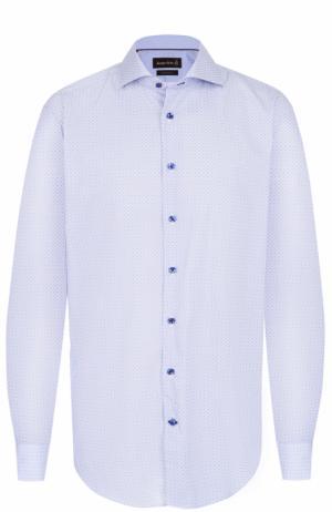 Хлопковая рубашка с воротником акула Jacques Britt. Цвет: голубой