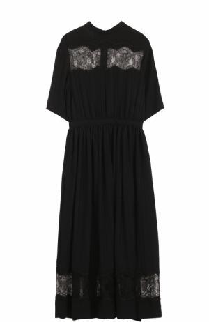 Шелковое платье-миди с кружевными вставками Rochas. Цвет: черный
