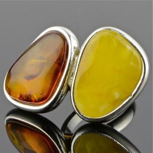 Кольцо янтарь золотой рассвет Бусики-Колечки
