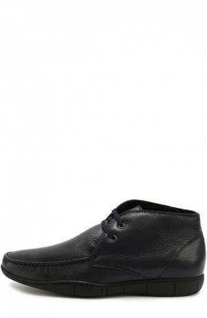 Кожаные ботинки на шнуровке A. Testoni. Цвет: темно-синий