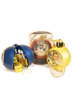 Елочный шар с рамкой Mister Christmas. Цвет: золотой