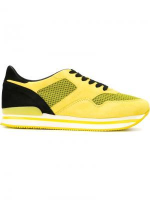 Кроссовки с панельным дизайном Hogan. Цвет: жёлтый и оранжевый