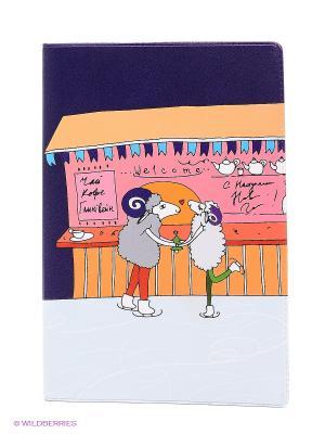 Обложка для паспорта Овечки на катке Mitya Veselkov. Цвет: оранжевый, розовый, светло-зеленый, фиолетовый