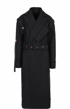 Удлиненное шерстяное пальто с поясом Proenza Schouler. Цвет: черный