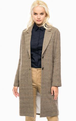 Хлопковое пальто в клетку Marc O'Polo. Цвет: коричневый