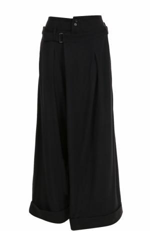 Укороченные широкие брюки из шерсти Yohji Yamamoto. Цвет: черный
