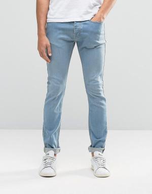 LDN DNM Синие выбеленные суперзауженные джинсы. Цвет: синий