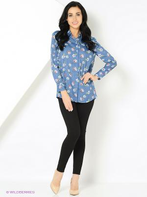 Блузка с цветочным принтом синяя MONOROOM. Цвет: синий