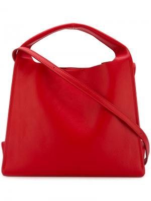 Маленькая структурированная сумка-тоут Maison Margiela. Цвет: красный