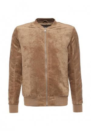 Куртка кожаная Jack & Jones. Цвет: бежевый