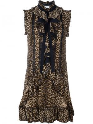 Платье с леопардовым принтом Zuhair Murad. Цвет: чёрный