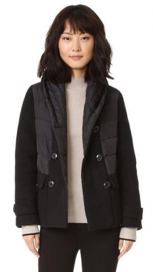 Двубортная шерстяная пуховая куртка Add Down. Цвет: голубой