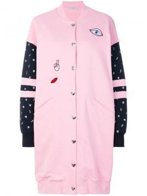 Удлиненное пальто-бомбер с вышивкой Vivetta. Цвет: розовый и фиолетовый