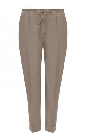 Укороченные однотонные брюки из смеси хлопка и льна Kenzo. Цвет: бежевый