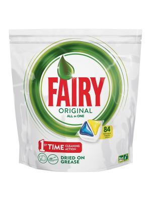 Средство для мытья посуды в капсулах посудомоечных машин Лимон 84шт Fairy. Цвет: зеленый, белый