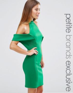 John Zack Petite Платье мини с высокой горловиной и вырезами на плечах. Цвет: зеленый