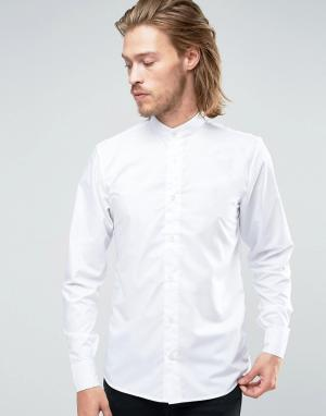 Rogues of London Рубашка скинни с воротом на пуговице. Цвет: белый