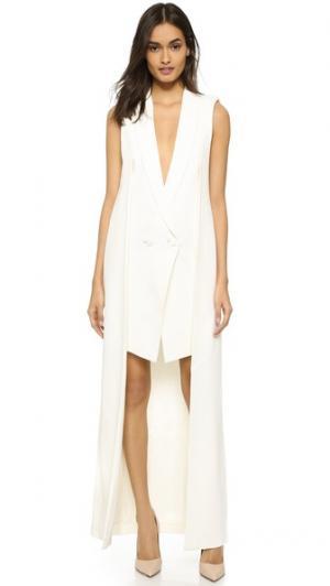 Двухслойное платье-жилет Olcay Gulsen. Цвет: оттенок белого